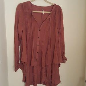 Free people brown blouse, s/p